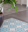 PVC vinyl mat Tiles Pattern Decorative  linoleum rug Blue And Gray 104 ,FREE Shipping