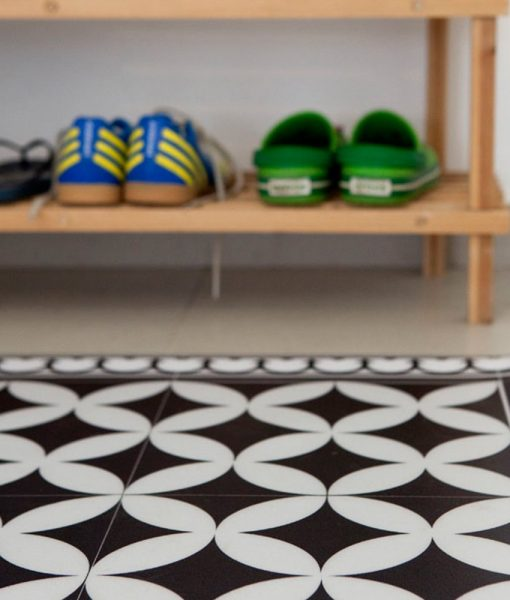 PVC vinyl mat Tiles Pattern Decorative  linoleum rug – Color Black & White 132 PVC Rug, Kitchen mat FREE Shipping