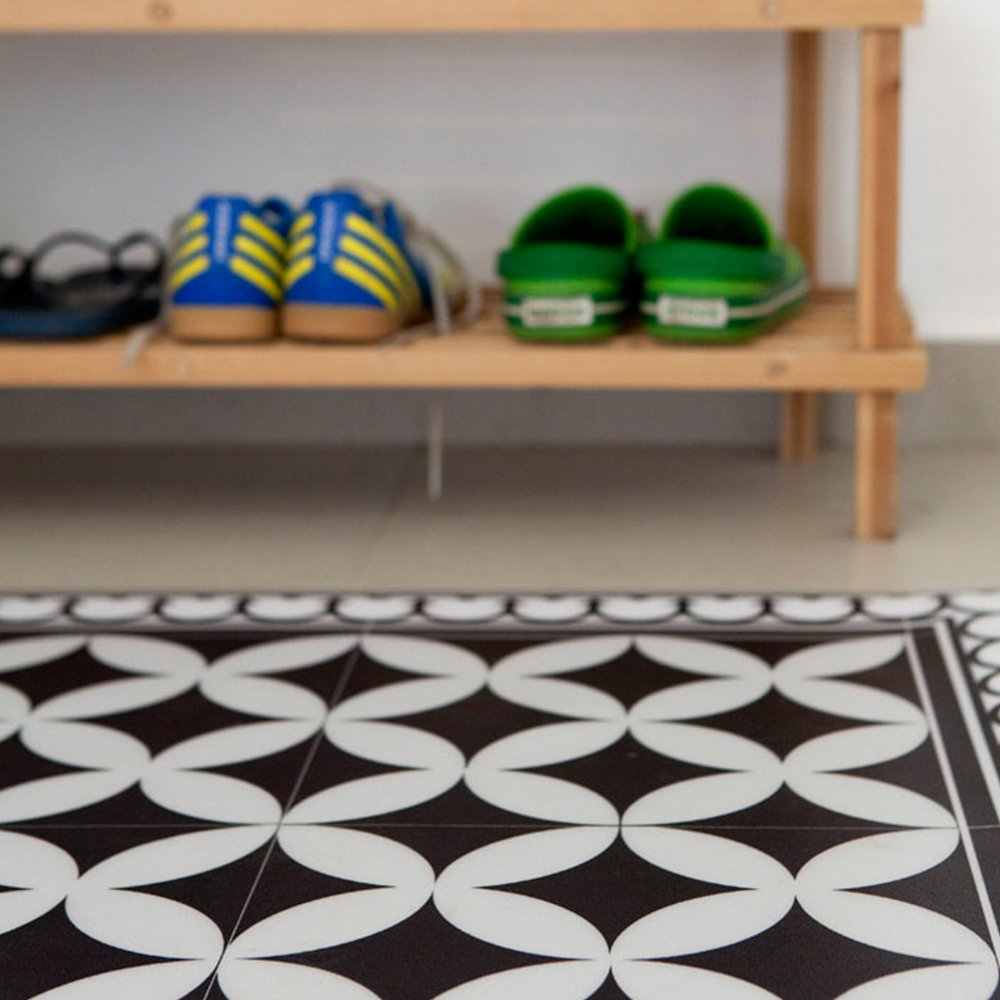 Pleasant Pvc Vinyl Mat Tiles Pattern Decorative Linoleum Rug Color Black White 132 Pvc Rug Kitchen Mat Free Shipping Interior Design Ideas Pimpapslepicentreinfo