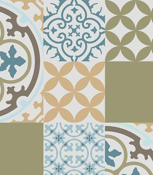 PVC vinyl mat Tiles Pattern Decorative  linoleum rug  mix 302, Kitchen mat, FREE Shipping
