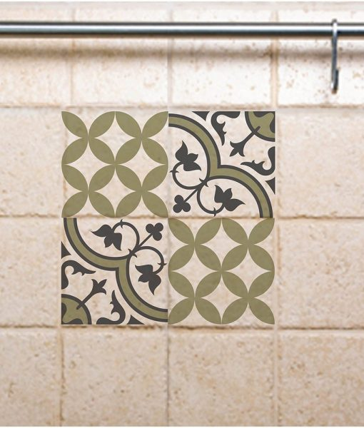Tile Decals,  Kitchen/Bathroom tiles, vinyl, wall floor tiles, kitchen decoratiom, free shipping- mix green