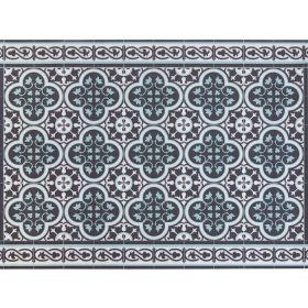 Tiles Pattern Decorative PVC vinyl mat – Color Dark Brown And Azure 171 PVC Rug, Kitchen Mat