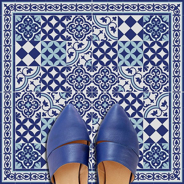 Traditional Tiles Floor Tiles Floor Vinyl Tile Stickers Tile - Blue-bathroom-tile-stickers