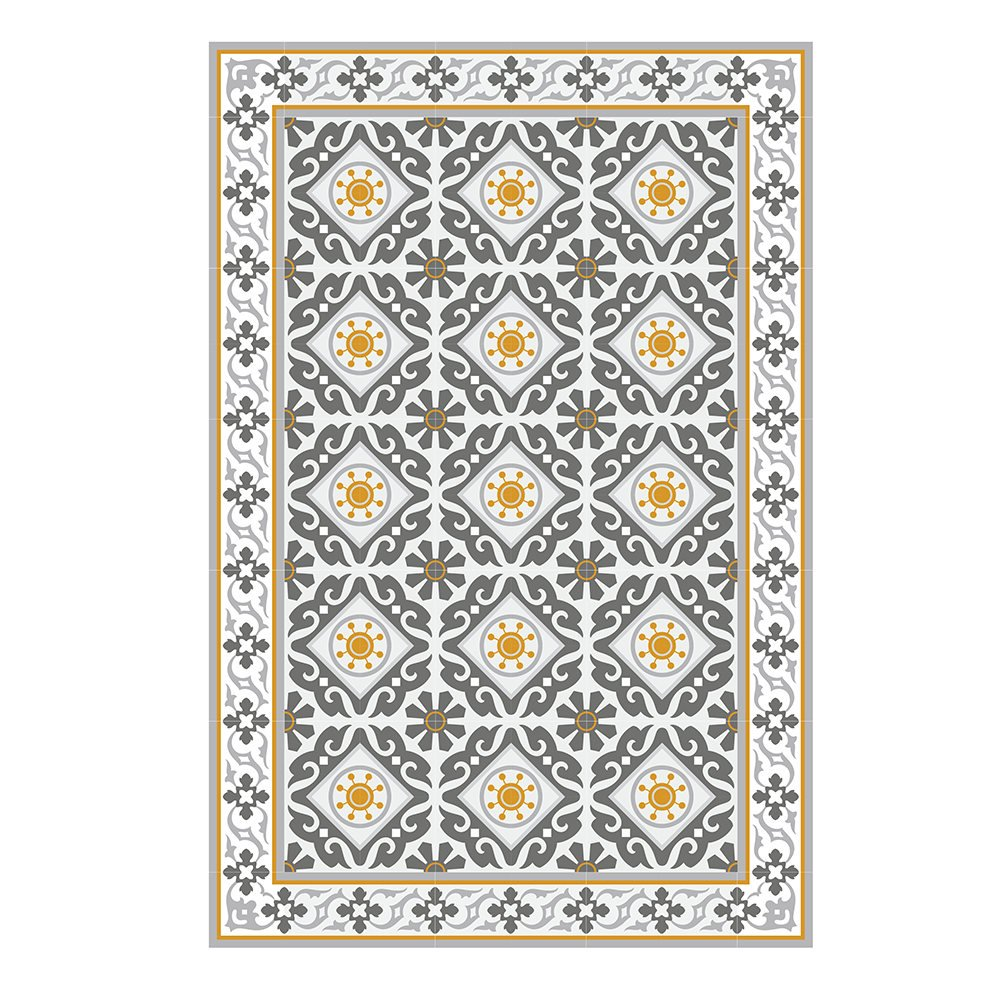 Yellow Gray Kitchen Mat Pvc Vinyl Mat Tiles Pattern